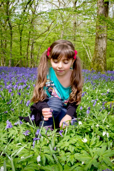 girl with bluebells