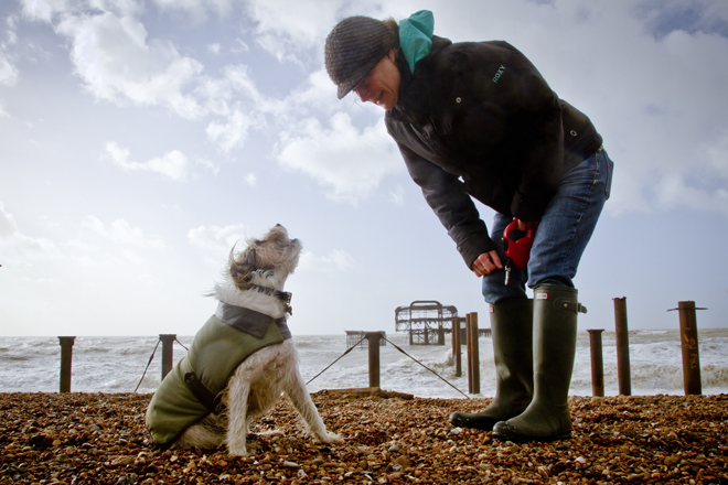 Jo and Zak chatting at the West Pier on a stormy day